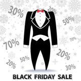 Black friday Sale.Tailcoat, snowflakes,numbers Stock Photography