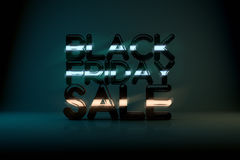 Black Friday Sale Technology 3D Background with Neon Glow  Royalty Free Stock Image