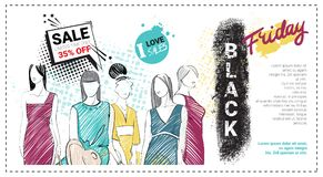 Black Friday Sale Template Brochure With Hand Drawn Fashion Models And Copy Space, New Collection Of Clothes Discounts. Concept, Shopping Poster Vector Stock Photo