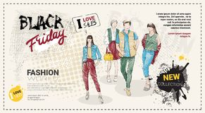 Black Friday Sale Template Brochure With Hand Drawn Fashion Models And Copy Space, New Collection Of Clothes Discounts. Concept, Shopping Poster Vector Royalty Free Stock Photo