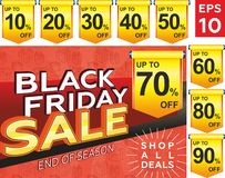 Black friday sale. Banner layout design, poster design, price tag royalty free illustration