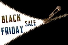Black Friday sale text behind zipper. Black Friday sale text behind golden zipper , open black cover stock images
