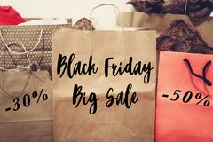 Black friday sale text. big sale offer discount sign on paper ba Stock Photos