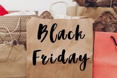 Black friday sale text. big sale offer discount sign on paper ba Stock Image