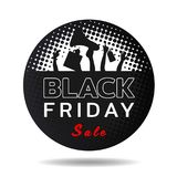 Black friday sale text in black circle banner and and hands hold Shopping Bag , tag , loudspeaker vector design Royalty Free Stock Image