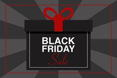 BLACK FRIDAY SALE text illustration with red frame, gift package, black and gray background, vector royalty free stock photo