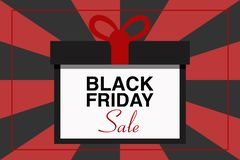 BLACK FRIDAY SALE text illustration, gift package, black and red background, vector event stock photo