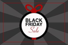 BLACK FRIDAY SALE text illustration, gift ball, black and gray background, vector event royalty free stock photography