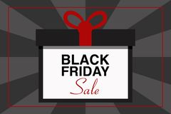 BLACK FRIDAY SALE text illustration, gift package, black and gray background, vector event stock photo