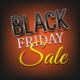 Black friday sale. Text black friday sale on the orange background. Bright vector illustration. Black volume text Royalty Free Stock Photography