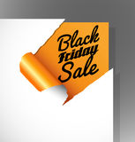 Black Friday Sale text uncovered from teared paper corner. Royalty Free Stock Images