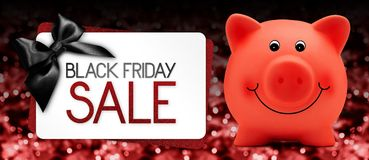 Black Friday sale text write on gift card label with red piggy b vector illustration