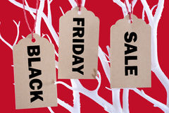 Black Friday Sale Tickets from Tree. Sale tickets hanging from Winter tree branch against a bright red background with Black Friday Sale message Stock Photo