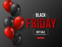 Black Friday sale typographic design. 3d stylized red color letters with glossy balloons. Black background, vector stock illustration