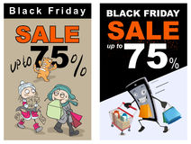 Black Friday sale up 75 percent discount. Funny vector cartoon Stock Photo