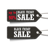 Black Friday Sale up to 90% tags set  Royalty Free Stock Photo