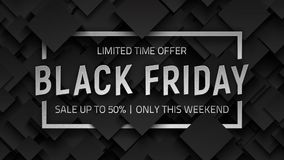Black Friday Sale Vector Background. Design Template. Silver Metal 3D Text Lettering and Frame on Dark Gray Abstract Backdrop. End of November Weekend Royalty Free Stock Image