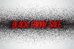 Black Friday Sale Vector Background. Illustration with 3d red dirty letters for business, marketing and holiday. Abstract dark gray round ash particles on Royalty Free Stock Photos