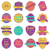 Black Friday Sale Vector Badges and Labels. Set of Black Friday Stickers and Banners Stock Image