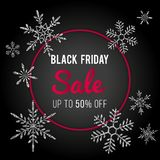 Black Friday Sale Vector Banner Design. Winter template with silver shiny glittering snowflakes. Black Friday Sale Vector Banner Design. Stylish winter template Royalty Free Stock Photos
