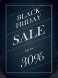 Black Friday Sale vector banner with percentual discount offer in vintage paper decorative artistic style. Royalty Free Stock Photo
