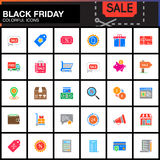 Black Friday Sale vector icons set, Shopping modern solid symbol Stock Image