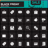 Black Friday Sale vector icons set, Shopping modern solid symbol Royalty Free Stock Photo