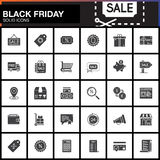 Black Friday Sale vector icons set, Shopping modern solid symbol Stock Photos
