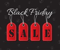 Black friday sale text with red tags on dark holiday background. Black friday sale vector illustration. Stock Photo