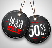 Black Friday sale vector price tags hanging in white background. With half price discount. Vector illustration Stock Photos