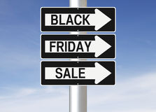 Black Friday Sale This Way. Modified one way signs indicating Black Friday Sale Royalty Free Stock Images