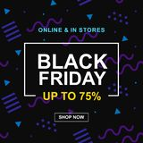 Black Friday Sale Web Banner Design Template with 80s style geometric shapes. Fashion discount promo offer poster background. Modern Vector illustration stock illustration
