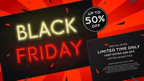 Black Friday sale web banner with neon text Stock Photo