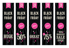 Black Friday Sale Web Banners. 5 website banners advertising a Black Friday sale Royalty Free Stock Photos