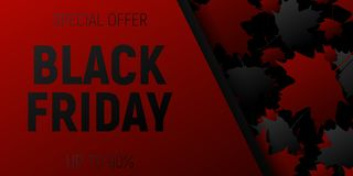 Black Friday Sale web Horizontal Banners. Black and rec Flying maple leaves. Black and red Background. Royalty Free Stock Images