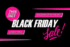 Black Friday Sale. This weekend special offer banner, discount up to 75% off. Lowest price. Stock Images