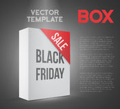 Black Friday Sale White Carton Box Template. Photorealistic Vect Stock Photography