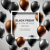 Black friday sale white promotion poster with color balloons. royalty free illustration