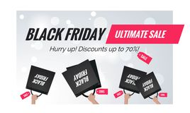 Black friday sale winter  banner. Black friday sale  banner. Black Friday background with shopping bags in shoppers hands. Vector winter illustration Royalty Free Stock Images