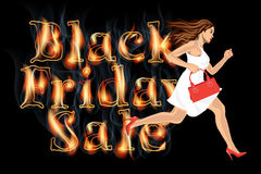 Black friday sale woman run. Young woman in white dress running on Black friday Sale Royalty Free Stock Image