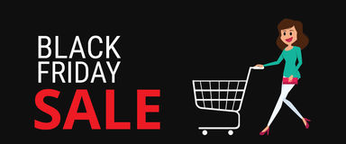 Black friday sale. Woman with shopping cart on Black Friday big sale the day before Christmas. Cartoon Vector Illustration Stock Photos