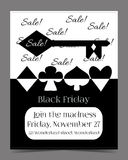 Black Friday Sale in Wonderland Banner, Card. Brochure - the Key. Printable Vector Illustration for Graphic Projects, Parties and the Internet Stock Photo
