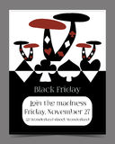Black Friday Sale in Wonderland Banner, Card. Brochure - Mushrooms. Printable Vector Illustration for Graphic Projects, Parties and the Internet Stock Photography