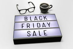 Black friday sale. Word on lightbox stock photo