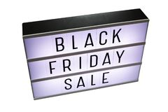 Black friday sale lightbox isolated on white stock photography