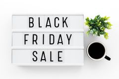 Black friday sale. Word on lightbox on white table Stock Photo