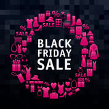 Black friday sale wreath of shopping icons Royalty Free Stock Photos