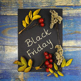 Black Friday Sale written on black card with leaves and wild rose fruits Stock Image