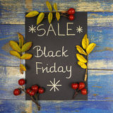 Black Friday Sale written on black card with leaves and wild rose fruits Stock Photos