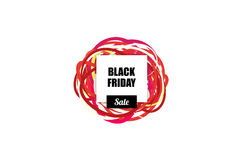 Black Friday salelabel with blank for text design and colorfull ribbons on background. Stock Images